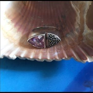 NWOT - Sterling Silver Marcasite/Amethyst Ring